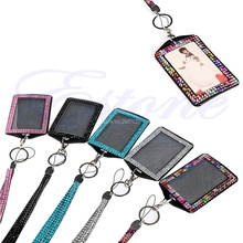 Resin Crytal Bling Retractable ID Badge And Photo Key Holder Neck Lanyard #ROF95#