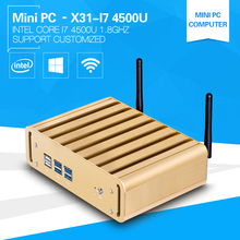 XCY Core I7 Mini PC Windows 10 4500U Dual Core 1.8GHz  Fanless Design Aluminium Alloy Case Support Wireless keyboard and Mouse