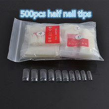 Wholesale 500 Pcs/Pack Artificial Fingernail half Cover Acrylic False Nails Tip Faux Salon Make Up Set Decoration Fake Nail Tips