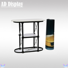 Economical 1*2 Straight Portable Trade Show Reception Counter With Printed Graphic,Exhibition Pop Up Table Podium Display