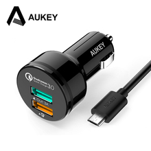 AUKEY Quick Charger Qualcomm 3.0 [5V  9V 12V] 2 Port Fast Car charger USB charge for Xiami 5 iPhone 7 Samsung HTC 2.0 compatible