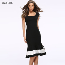 2017 Victoria hot style dress sexy dress sleeveless color matching fishtail waist cultivate one's morality(China)