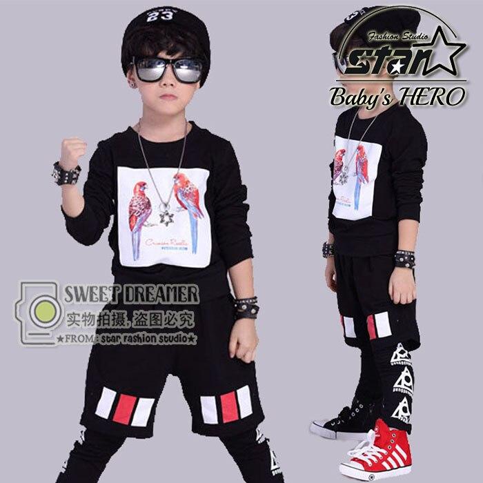 Pop Fashion Unisex Kids Children Hip Hop Clothing Set Boys Girls Teenager Street Dance Suit 2 Piece Cotton Clothes Suit <br>