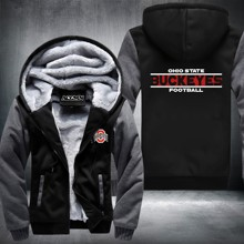 New Hot Design Buckeyes Football Team Hoodies Zip Up Printing Pattern Coats Thicken Fleece Men's Coat USA size No3 Grey and Blue