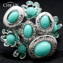 CHRAN Unique Accessories Rhodium Plated Jewelry Rings Party Gifts Promotion Fashion Crystal Wedding Flower Rings for Women