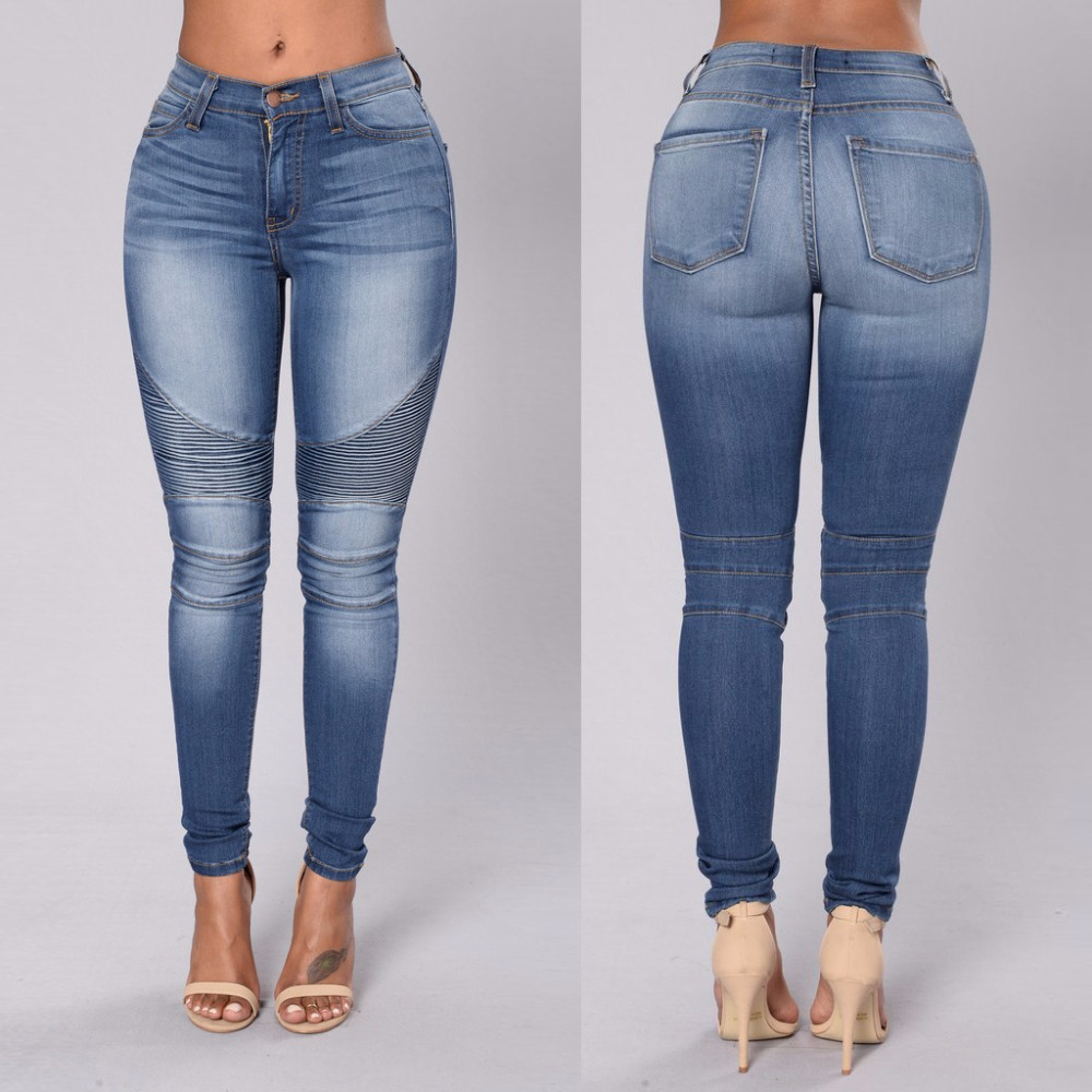 New arrival female slim fit elastic denim pencil pants fashion pleated spliced bleached jeans trousers for womenОдежда и ак�е��уары<br><br><br>Aliexpress