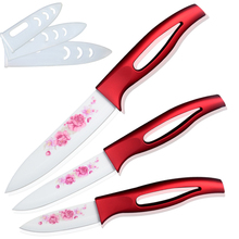 XYJ ceramic knife set  red handle white blade 3'' 4'' 5'' kitchen knives high sharp kitchenware cooking tools beautiful gift