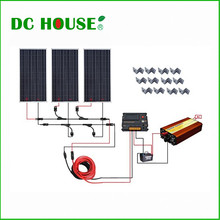 DC HOUSE USA UK Stock 300W Off Grid Solar System Kits: New 100W Solar Module 12V Home 20A Controller 1000W Inverter(China)