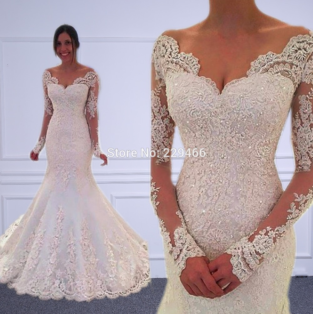 2019 vestido de noiva Long Sleeves mermaid wedding dresses Sheer Tulle Back Sexy V Neck wedding Gowns Robe de mariage Customize