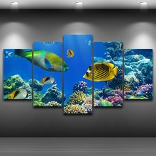 Modular Pictures For Living Room Wall Art Canvas Painting Decor 5 Pieces Marine Tropical Fishs HD Printed Poster Framed PENGDA