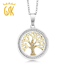GemStoneKing Deux-Tone 925 Sterling Argent Arbre De LifeFamily Arbre Pendentif Collier Avec Diamant Accent(China)