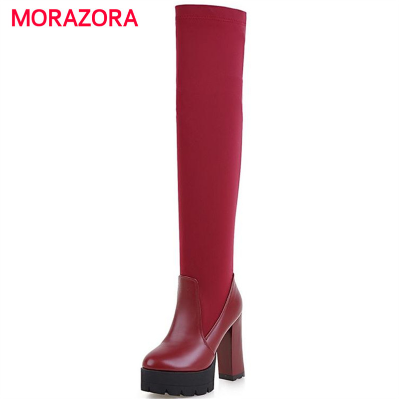 MORAZORA Over the knee boots big size 34-43 elegant fashion boots for women winter boots platform shoes solid slip-on<br><br>Aliexpress