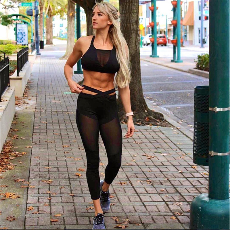 2017 Mesh Patchwork, 2 Pieces Hollow Women Clothing, Tracksuit Crop Top And Leggings 2