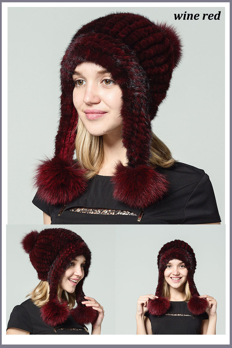 mink fur hat black wine red