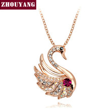 ZHOUYANG Top Quality Elegant Swan Rose Gold Color Pendant Necklace Jewelry Made with Austria Crystal Wholesale ZYN474(China)