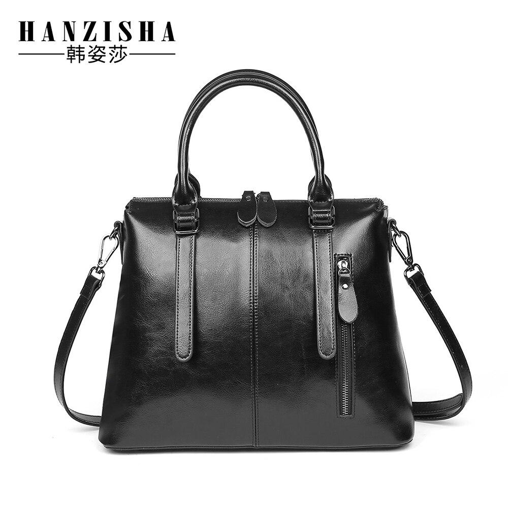 HZHZISHA New 2017 Fashion Brand Genuine leather Women Handbag Europe and America Oil Wax Leather Shoulder Bag Casual Women Bag <br><br>Aliexpress