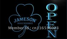 LA074- Jameson Whiskey Shamrock OPEN Bar   LED Neon Light Sign     home decor  crafts
