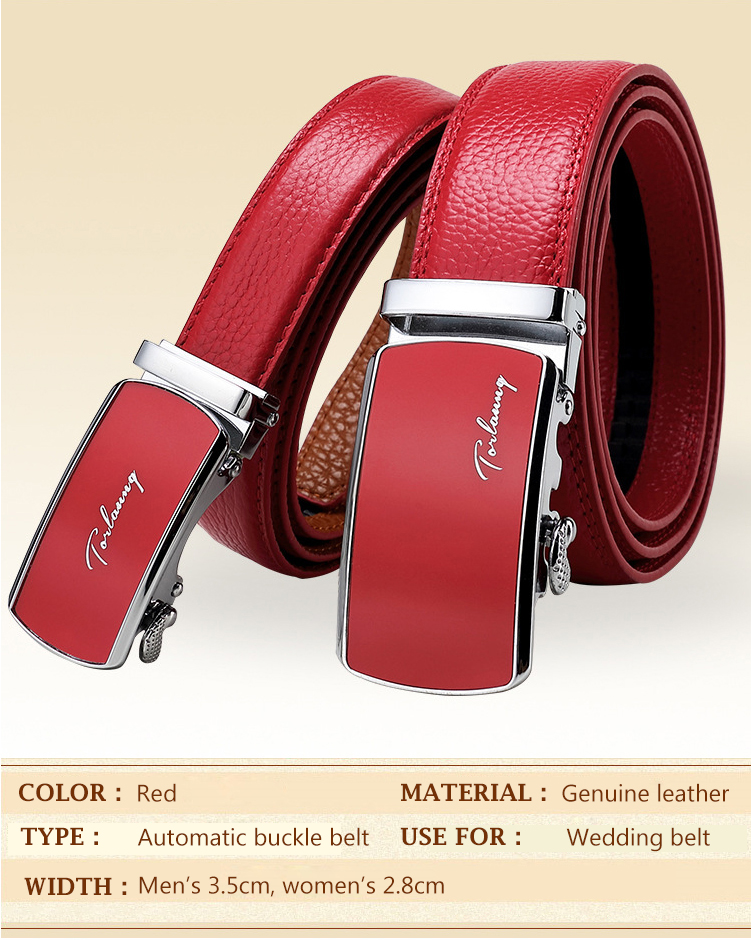 (1)Designer Weddin for Men Belts Genuine Leather Famous Brand Automatic Buckle Female Belt Red Strap Luxury Womens Belt Male