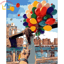 Digital Diy oil painting by numbers landscape wall decor picture on canvas oil paint coloring by number drawing balloon 6446(China)