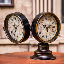 European Ancient 2 Sided Table Clocks Retro Desk Clock Home Decor Iron(China)