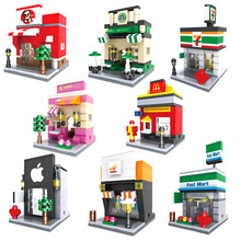 HSANHE Street View with Human Figures Nano Block Models Mcdonald's Starbucks Apple Store toys Compatible with Lego(China)
