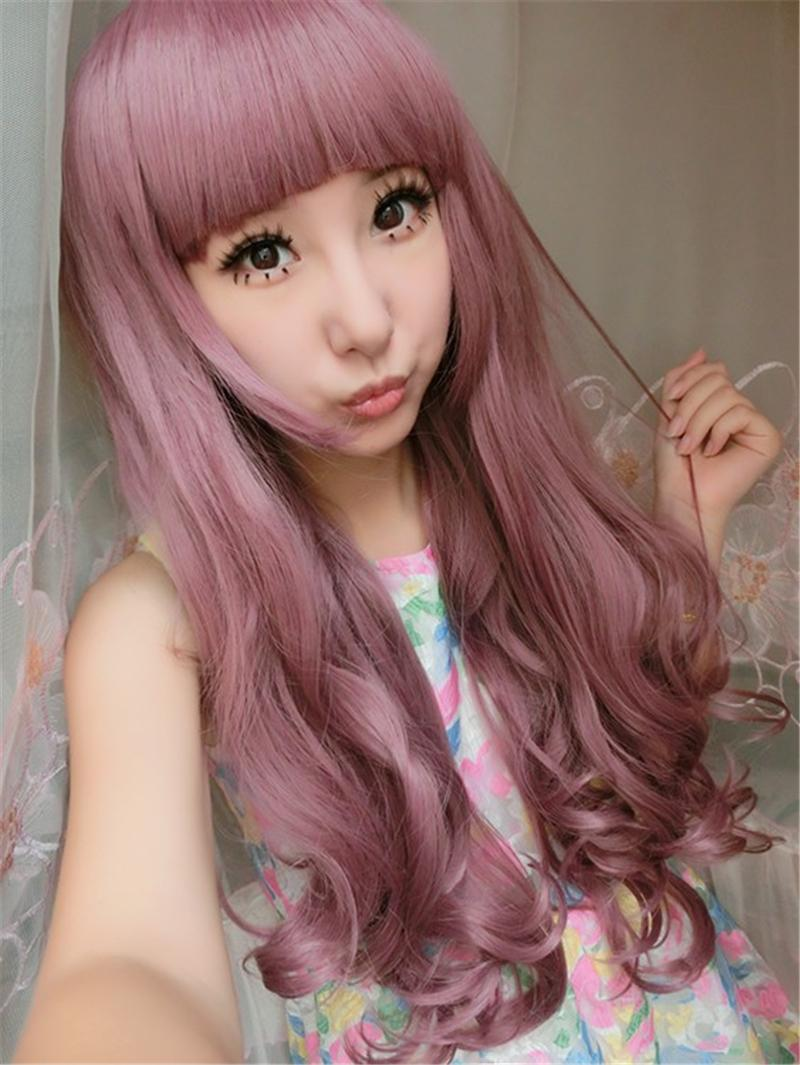 65 Cm Harajuku Lolita Wig Anime Cosplay Long Curly Wavy Sexy Synthetic Hair Purple Wigs For Women With Bangs Peruca Peruke W035<br><br>Aliexpress