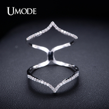 UMODE 2017 Hot Top Zircon Long Finger Ring For Women Fashion Rose Gold Color Wedding Rings Jewelry Knuckle Rings Anillos UR0053(China)