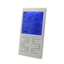 Indoor Temperature Humidity Meter Clock Weather Station Date Weather Forecast Function with Blue Backlight
