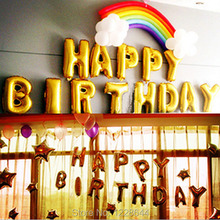 HAPPY BIRTHDAY foil balloons Party supplies Alphabet letter golden silver pink blue color choice size 16inch 13pcs/lot wholesale