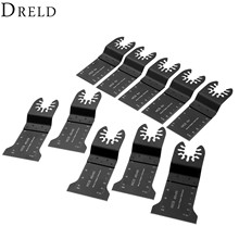 DRELD 10Pcs Oscillating MultiTool 32-45mm HCS E-cut Saw Blade Metalworking Tool For Multimaster Renovator Bosch Power Tools