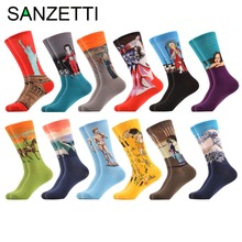 SANZETTI 12 pairs/lot Men's Colorful Socks Combed Cotton Socks with Oil Painting Van Gogh Yellow Klimt Painting Streetwear Style