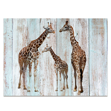 1 Piece HD Printed Giraffe Painting Wood Board Painting Canvas Art Decor Wall Picture for Living Room NO frame/VA170804-3