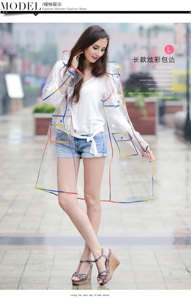 Fashion transparent waterproof garment, raincoats, EVA waterproof windbreaker. transparent coat.<br>