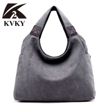 KVKY Fashion Women Canvas Bags Woman Casual Shoulder Tote Bag Famous Brand Female Bags Bolso Ladies Crossbody Bag bolsa feminina(China)