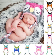 Baby Owl Hat with Ear Flap Cute Cartoon Infant Toddler Handmade Knitted Crochet Baby Soft Bonnet Photography Props Animal Caps