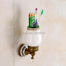 High Quality Bathroom Accessories Wall Mounted Ceramic Crystal Holder Antique Single Cup Holder for Toothbrush ZR2676(China)