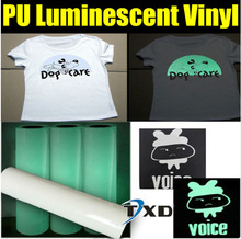 Glow in the dark transfer pu film for Tshirts,garments with top quality by size:50CMX100CM/LOT
