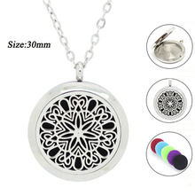 New Arrival! 30MM Essential Oil Diffuser Pendant Necklace Aromatherapy Pendant 316L Stainless Steel Perfume locket(China)