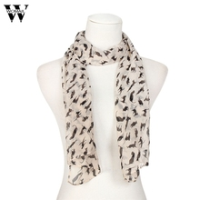 Womail Women's Chiffon Sweet Cartoon Cat Scarf Graffiti Style shawls and scarves for women charpes foulards 2016 1pc #30 Gift