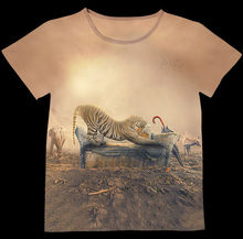 Track Ship+New Vintage Retro T-shirt Top Tee Yellow Tiger Playing on Sofa Umbrella Wild Elephant Deer 0711