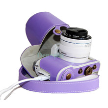 Dengpin 2015 New PU Leather Camera Purple Case Bag Cover for Samsung NX3000 with 16-50mm or 20-50mm Lens +Strap T