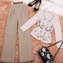 2018 Spring Autumn New European And American Women's Suits Embroidery Long Sleeves Shirt+Pants Fashion Sets for Lady(China)