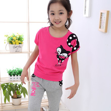 2017 summer toddler girls clothing casual cartoon sets kids clothes brand fashion 4 6 8 10 12 years children's sports suits 546