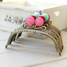 Freeshipping Lovely Candy bead Small Crown Metal Purse frame Kiss Clasp 12.5CM knurling bronze arc-shaped 5pcs/lot(China)