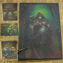 WOW World of Warcraft Game Poster Azeroth Pandaria Retro Vintage Paper Posters Bar Shop Pub Boy Room Home Decor Wall Sticker