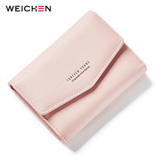 WEICHEN Korean Design Envelope Hasp Short Lady Wallets, Mini Small Women Wallet Purse Soft Leather Crad Holder Coin Bag Cultch(China)