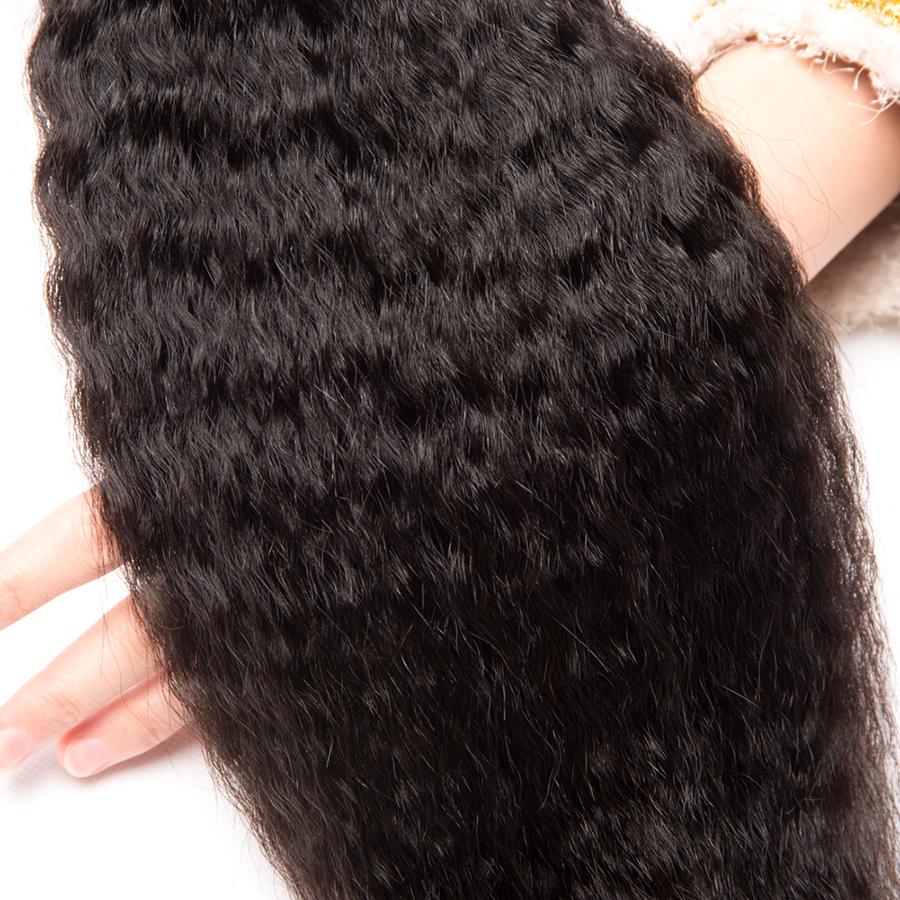 [ALIPOP] Peruvian Virgin Hair Kinky Straight Human Hair Bundles 1PC 10-28 Hair Extensions Double Weft Natural Black  (1)