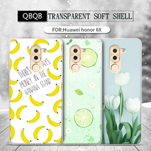 QBQB For Huawei honor 6X Phone Bag Case Soft Silicon Back Cover Colorful lemon flower painting Cute banana pattern Cartoon Case