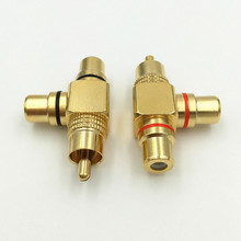 10Pcs High Quality Copper RCA Male to 2 Female RCA Splitter Adapter AV Video Audio T Plug RCA 3 way Plug