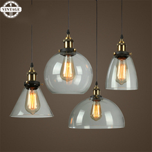 Clear Lampshade bowl Pendant LampsClassic Glass Pendant Lights Loft Industrial Iron Hang Light Fitting Illumination Fixtures(China)